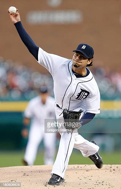 Anibal Sanchez of the Detroit Tigers throws a firstinning pitch against the Seattle Mariners at Comerica Park on September 17 2013 in Detroit Michigan