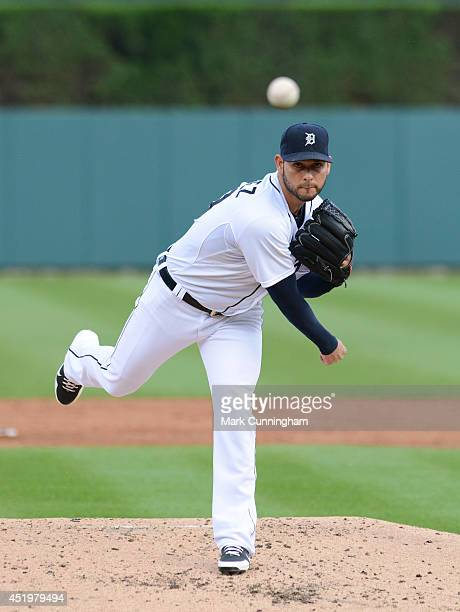 Anibal Sanchez of the Detroit Tigers throws a warmup pitch during the game against the Oakland Athletics at Comerica Park on June 30 2014 in Detroit...