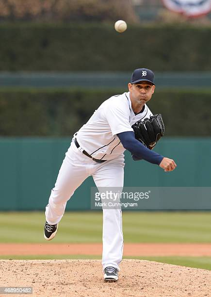 Anibal Sanchez of the Detroit Tigers throws a warmup pitch during the game against the Minnesota Twins at Comerica Park on April 8 2015 in Detroit...