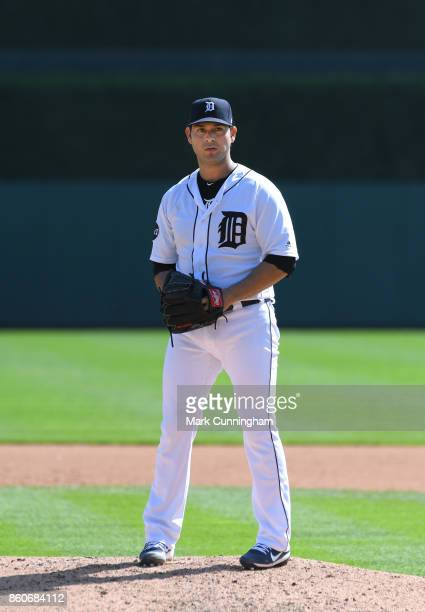 Anibal Sanchez of the Detroit Tigers throws a warmup pitch during the game against the Oakland Athletics at Comerica Park on September 20 2017 in...