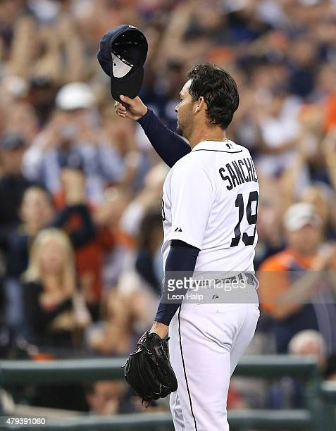 Anibal Sanchez of the Detroit Tigers tips his cap to the fans after leaving the game in the eighth inning against the Toronto Blue Jays during the...