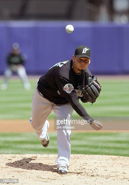 Anibal Sanchez of the Florida Marlins delivers a pitch in the second inning against the New York Mets during their game on May 2 2007 at Shea Stadium...