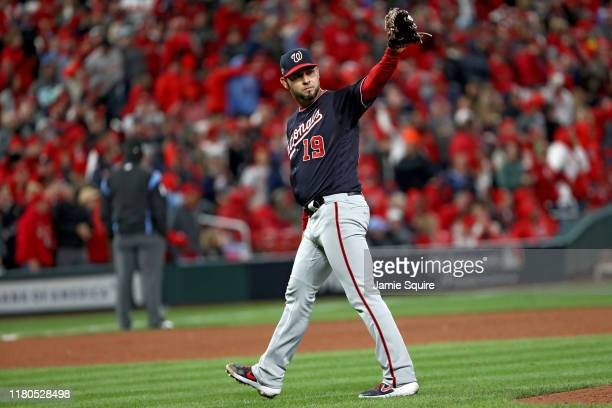 Anibal Sanchez of the Washington Nationals acknowledges Jose Martinez of the St Louis Cardinals who singled to secure the first base hit of the game...
