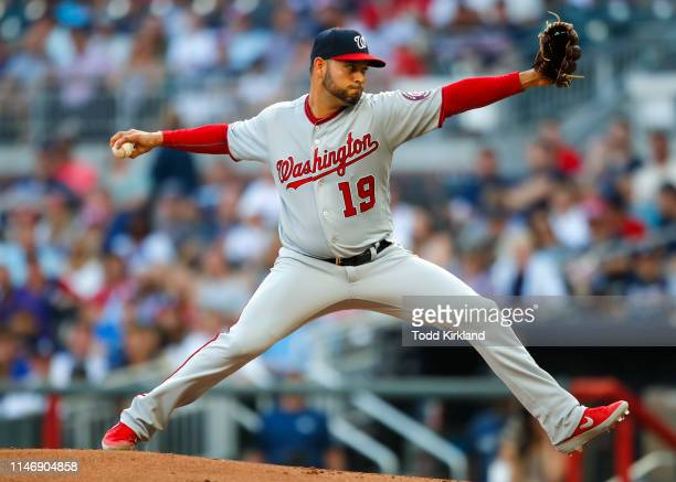 Anibal Sanchez of the Washington Nationals delivers in the first inning of an MLB game against the Atlanta Braves at SunTrust Park on May 29 2019 in...
