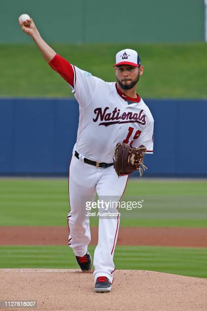 Anibal Sanchez of the Washington Nationals pitches against the St Louis Cardinals during a spring training game at The Fitteam Ballpark of the Palm...