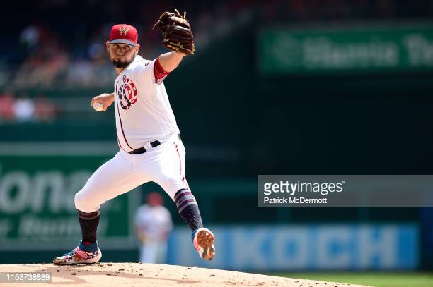 Anibal Sanchez of the Washington Nationals pitches in the first inning against the Miami Marlins at Nationals Park on July 4 2019 in Washington DC