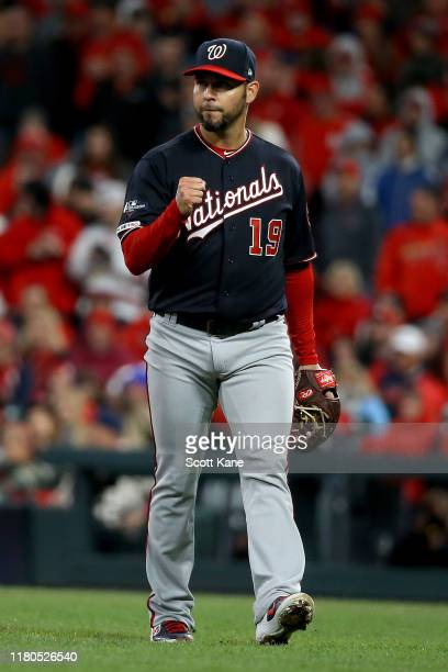 Anibal Sanchez of the Washington Nationals walks off the field after retiring the side in the seventh inning against the St Louis Cardinals in game...