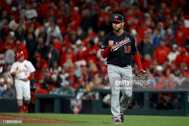 Anibal Sanchez of the Washington Nationals walks off the field after retiring the side in the seventh inning against the St. Louis Cardinals in game...