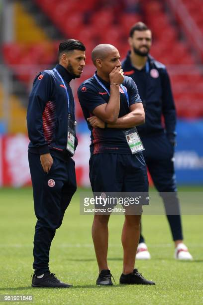 Anice Badri and Wahbi Khazri of Tunisia look on prior to the 2018 FIFA World Cup Russia group G match between Belgium and Tunisia at Spartak Stadium...