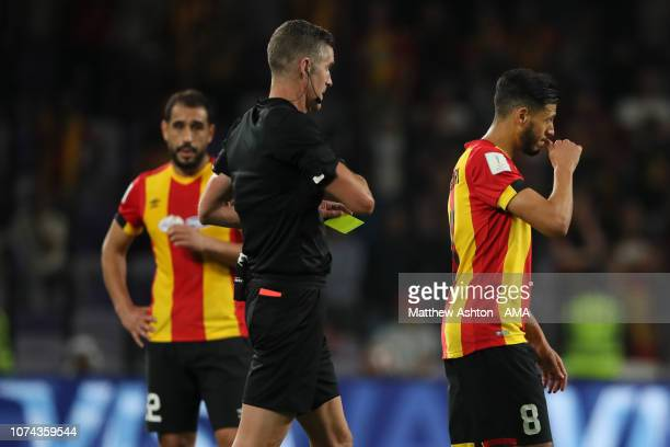 Anice Badri of Esperance de Tunis reacts after recieevnign a red card during the FIFA Club World Cup UAE 2018 5th Place Match between ES Tunis and CD...