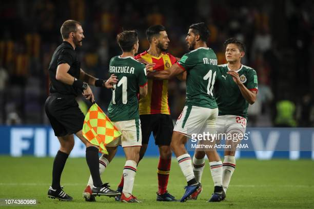 Anice Badri of Esperance de Tunis reacts towards Miguel Ponce of CD Guadalajara which results in him getting a red card during the FIFA Club World...