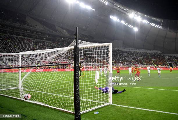 Anice Badri of Esperance Sportive de Tunis scores his sides third goal from the penalty spot during the FIFA Club World Cup 2019 5th place match...