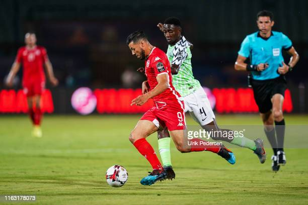 Anice Badri of Tunisia and Ndidi onyinye Wilfred of Nigeria during the 3rd place African Nations Cup match between Tunisia and Nigeria on 14th July...