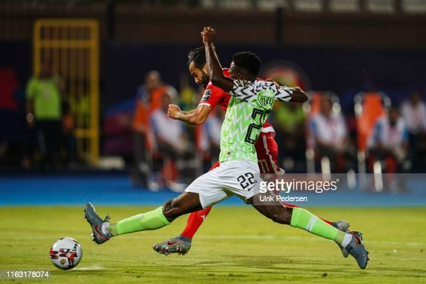 Anice Badri of Tunisia andKenneth Josiah omeruo of Nigeria during the 3rd place African Nations Cup match between Tunisia and Nigeria on 14th July...