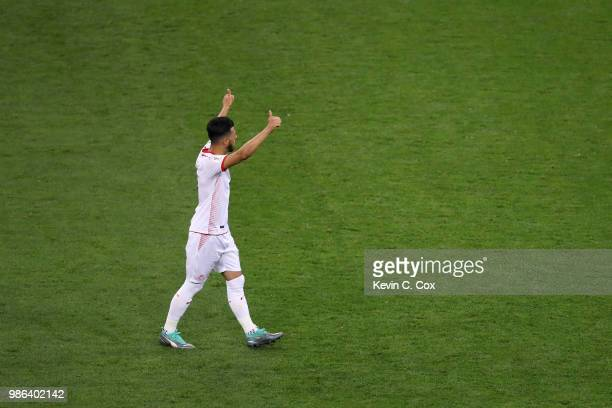 Anice Badri of Tunisia celebrates victory following the 2018 FIFA World Cup Russia group G match between Panama and Tunisia at Mordovia Arena on June...