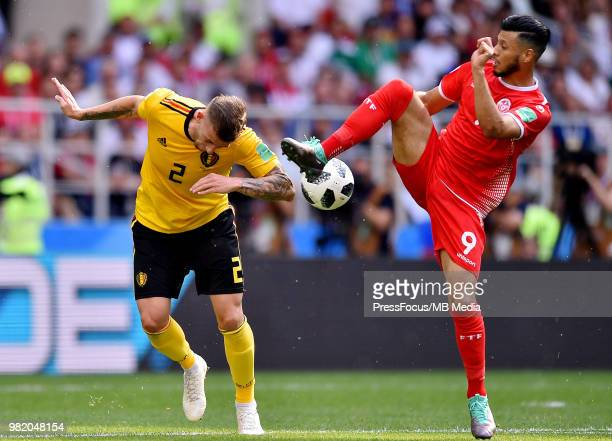 Anice Badri of Tunisia competes with Toby Alderweireld of Belgium during the 2018 FIFA World Cup Russia group G match between Belgium and Tunisia at...