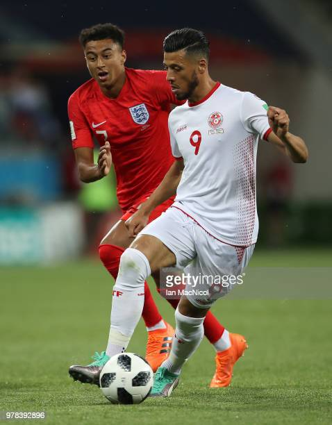 Anice Badri of Tunisia controls the ball during the 2018 FIFA World Cup Russia group G match between Tunisia and England at Volgograd Arena on June...