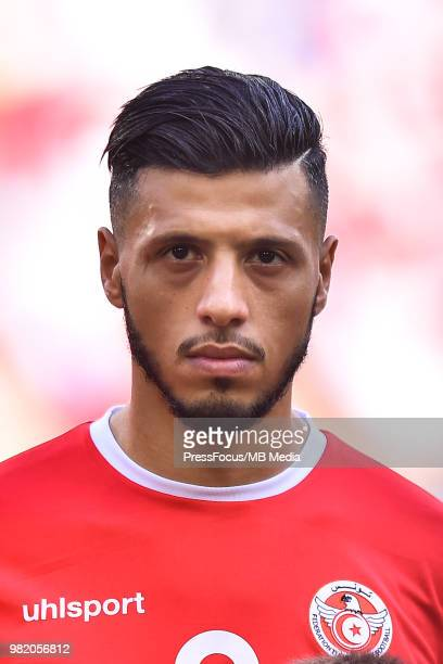 Anice Badri of Tunisia during the 2018 FIFA World Cup Russia group G match between Belgium and Tunisia at Spartak Stadium on June 23 2018 in Moscow...
