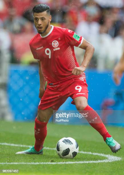 Anice Badri of Tunisia during the FIFA World Cup Group G match between Belgium and Tunisia at Spartak Stadium on June 23 2018 in Moscow Russia