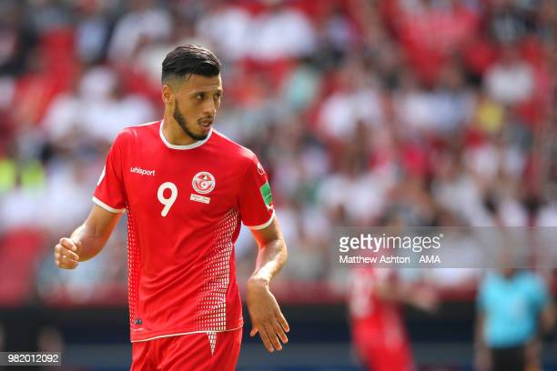 Anice Badri of Tunisia in action during the 2018 FIFA World Cup Russia group G match between Belgium and Tunisia at Spartak Stadium on June 23 2018...