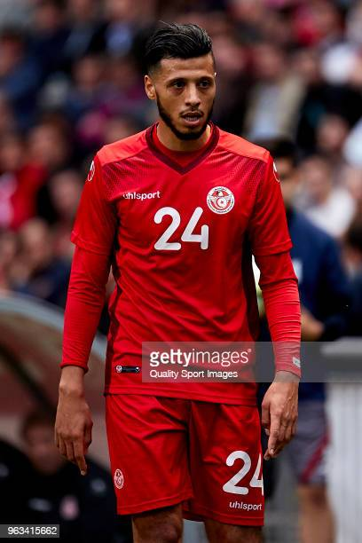 Anice Badri of Tunisia looks on during the friendly match of preparation for FIFA 2018 World Cup between Portugal and Tunisia at the Estadio AXA on...