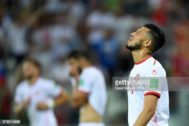 Anice Badri of Tunisia reacts followin gthe 2018 FIFA World Cup Russia group G match between Tunisia and England at Volgograd Arena on June 18 2018...