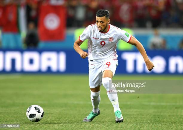 Anice Badri of Tunisia runs with the ball during the 2018 FIFA World Cup Russia group G match between Tunisia and England at Volgograd Arena on June...