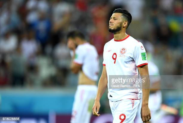 Anice Badri of Tunisia shows his dejection following the 2018 FIFA World Cup Russia group G match between Tunisia and England at Volgograd Arena on...