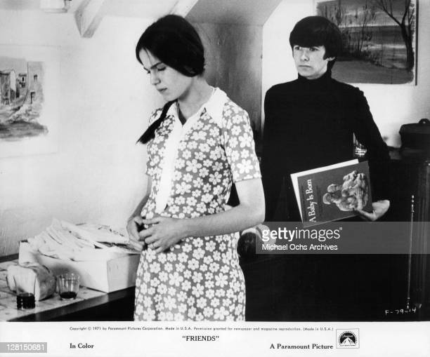 Anicee Alvina turns away from Sean Bury in a scene from the film 'Friends' 1971