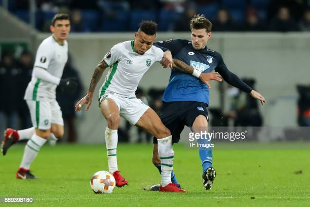 Anicet Abel of Ludogorets and Havard Nordtveit of Hoffenheim battle for the ball during the UEFA Europa League group C match between 1899 Hoffenheim...
