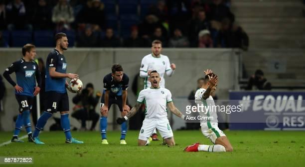 Anicet Abel of PFC Ludogorets Razgrad celebrates following the UEFA Europa League group C match between 1899 Hoffenheim and PFC Ludogorets Razgrad at...