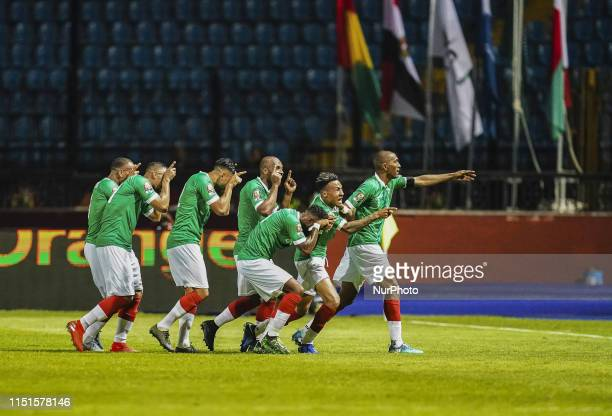 Anicet Andrianantenaina of Madagascar celebrating scoring to 1-1 during the African Cup of Nations match between Guinea and Madagascar at the...