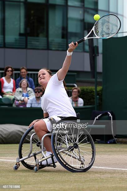 Aniek Van Koot of Netherlands during her Ladies' Wheelchair Doubles Final match with Jiske Griffioen against Jordanne Whiley of Great Britain and Yui...