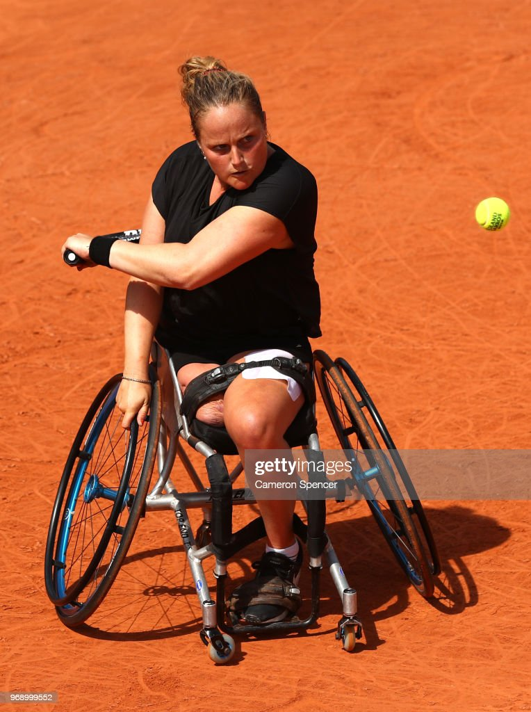 Aniek Van Koot of The Netherlands competes in the ladies singles wheelchair first round match against Kgothatso Montjane of South Africa during day twelve of the 2018 French Open at Roland Garros on June 7, 2018 in Paris, France.