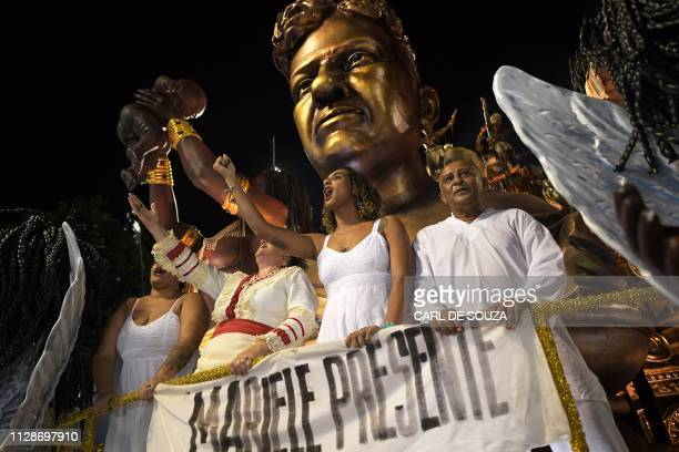 Anielle Silva sister of murdered council woman Marielle Franco takes part in the Vila Isabel samba school parade during the second night of Rio's...
