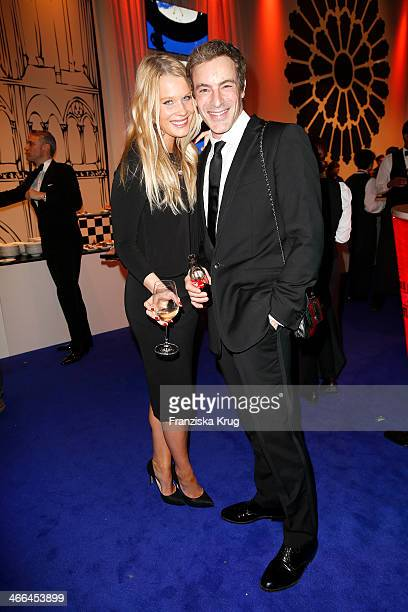 Anika Bormann and Gedeon Burkhard attend the Goldene Kamera 2014 at Tempelhof Airport on February 01 2014 in Berlin Germany