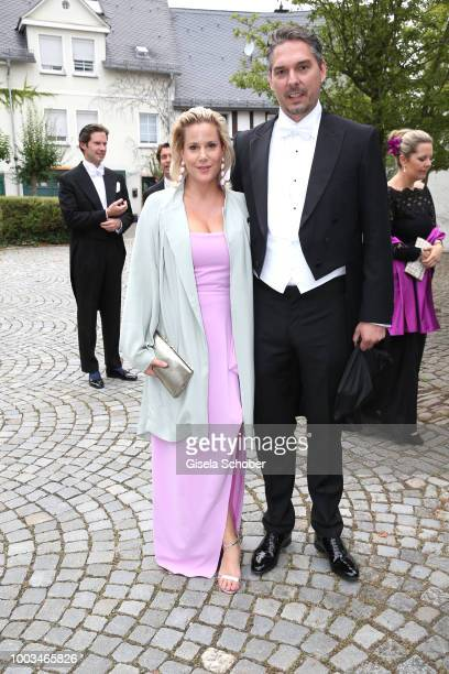Anika Decker and her boyfriend Alexander Wilde during the wedding of Princess Theodora zu SaynWittgensteinBerleburg and Earl Nikolaus Bethlen de...