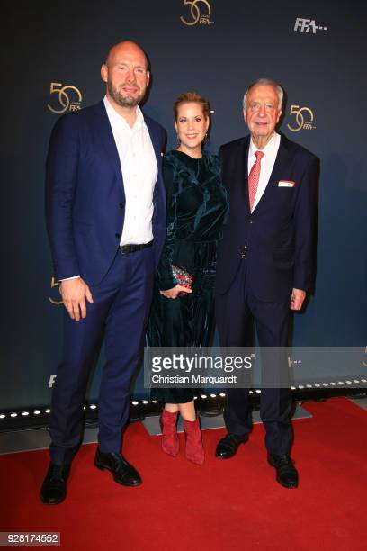 Anika Decker her brother Jan Decker and Bernd Neumann attend the 50th anniversary celebration of FFA at Pierre Boulez Saal on March 6 2018 in Berlin...
