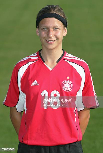 Anika Hoess poses during the photo call of the Women Under 17 German National Team on September 14 2006 in Weinheim Germany