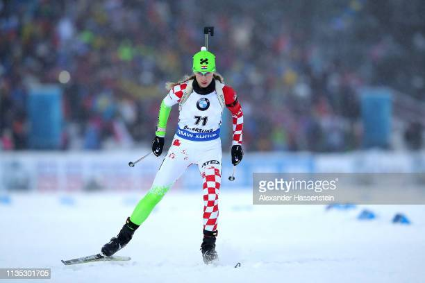 Anika Kozica of Croatia competes at the IBU Biathlon World Championships Women 7.5km Sprint at Swedish National Biathlon Arena on March 08, 2019 in...