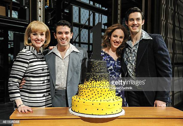 Anika Larsen Jarrod Spector Jessie Mueller and Scott J Campbell of 'Beautiful The Carole King Musical' Celebrate 1 Year On Broadway at Stephen...