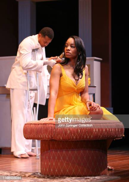 Anika Noni Rose and Terrence Howard in the 2008 Broadway revival of Tennessee Williams' Cat On A Hot Tin Roof at the Broadhurst Theater
