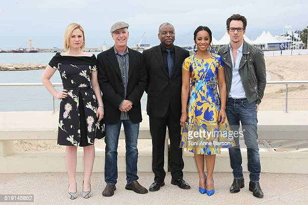 Anika Noni Rose Jonathan Rhys Meyers and Anna Paquin attend 'Roots' Photocall as part of MIPTV 2016 on April 4 2016 in Cannes France