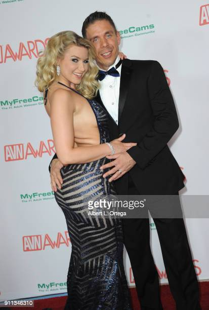 Anikka Albrite and Mick Blue attend the 2018 Adult Video News Awards held at Hard Rock Hotel Casino on January 27 2018 in Las Vegas Nevada