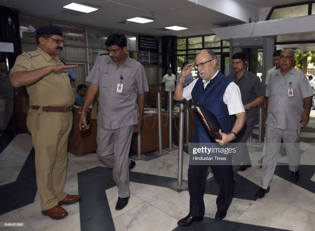 Anil Baijal, Lieutenant Governor of Delhi, arrives to attend the meeting along with Irrigation/Environment Ministers of Haryana and UP, on decongestion of Delhi & issues relating to Yamuna projects at Transport Bhawan, on September 13, 2017 in New Delhi, India.