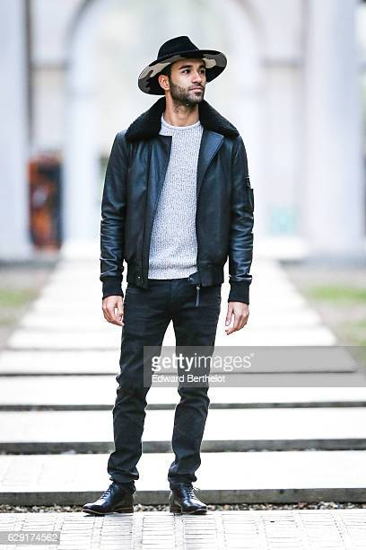 Anil Brancaleoni, digital influencer and youtuber @WaRTek, is wearing a MiniMe Paris hat, a Blue Garage Clothing gray pull over, a Bodaskin leather...