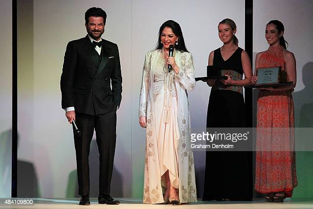 Anil Kapoor accepts the award for international screen icon during the Indian Film Festival of Melbourne Awards Night at National Gallery of Victoria...