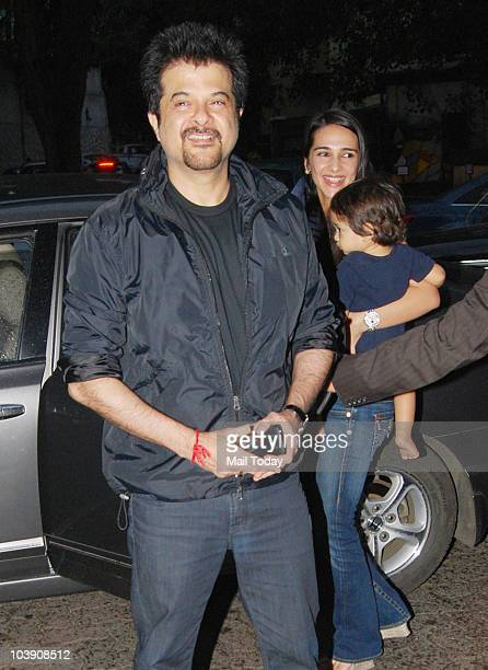 Anil Kapoor and Tara Sharma during the inauguration of artist Geeta Dass's exhibition of paintings based on Bollywood film actor Anupam Kher�s...