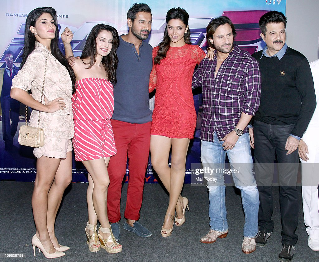 Anil Kapoor Saif Ali Khan John Abraham Deepika Padukone Ameesha Patel and Jacqueline Fernandez during a press meeting for the promotion of upcoming...