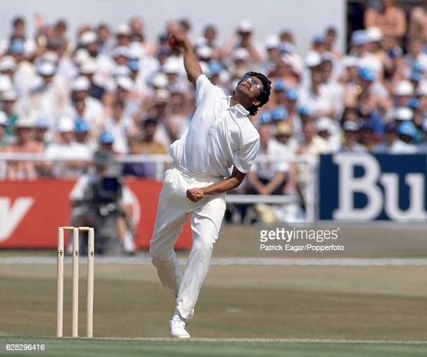 Anil Kumble bowling for India during the 1st Texaco Trophy One Day International between England and India at Headingley Leeds 18th July 1990